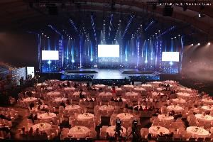 Empty Runway Fashion Show with LCD LED Screen lighting, background stage ramp Gala Dinner table VIP with Shutterstock credit