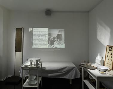 projection of prisoner's letter at horsens prison museum, denmark